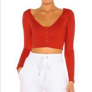 superdown red longe sleeve crop top